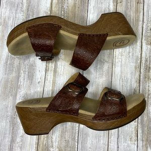 Dansko Sophie Leather Floral Tooled Brown Sandals